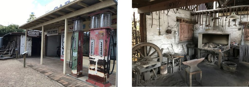 Old Petrol Station and Foundry Shop at the Vintage Village at Fairfield Museum
