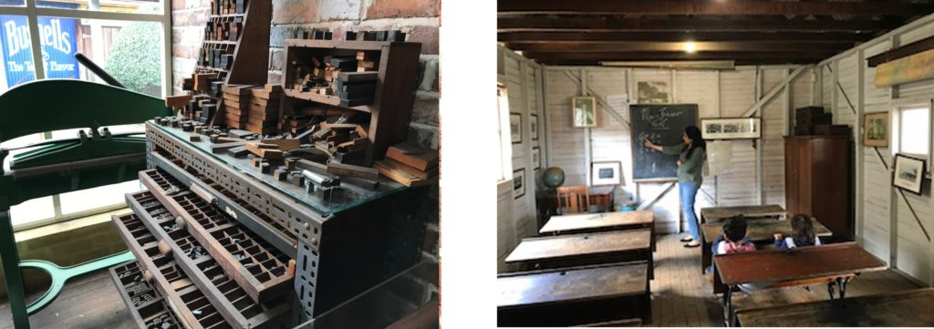 Old Printing Press and Old School House at the Vintage Village at Fairfield Museum. The schoolhouse is brought to life in a school education program.