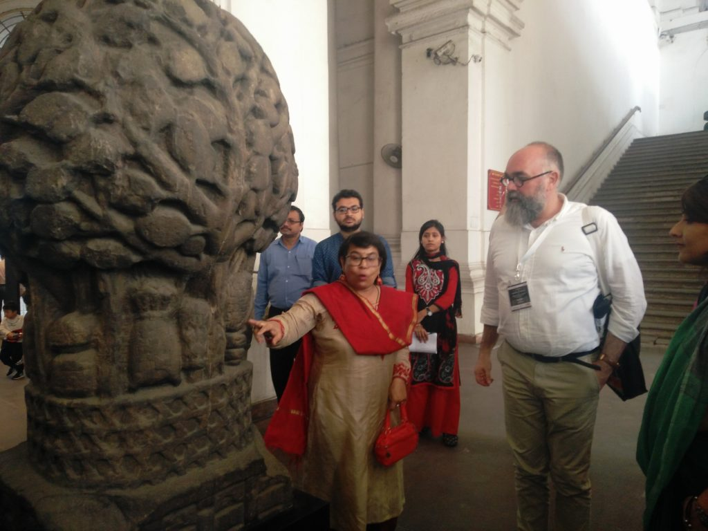 Senior curator at Indian Museum Kolkata during a curated walk through the museum for the conference participants. Pic Credit: Koumudi Malladi