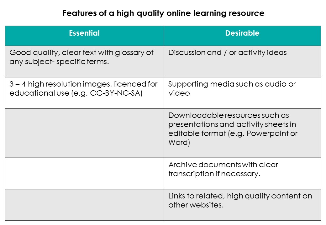 The table above summarises the essential and desirable components of a high quality online learning resource.
