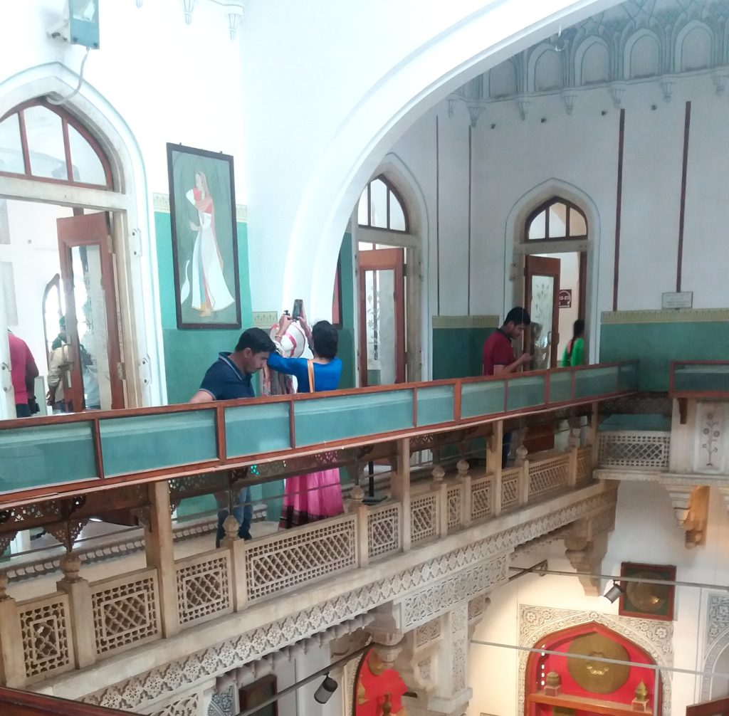 Albert Hall Museum, Jaipur. Housing museums in colonial era buildings often means dealing with architecture that is not ideal for museum displays. Here, sunlight shines in on display cases of miniature paintings. Photo by author. (Sept 2016)